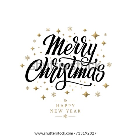 Merry Christmas Vector Text Calligraphic Lettering Design Card Template Calligraphy Font Style Banner