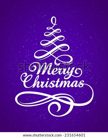 Merry Christmas vector typography. Calligraphic lettering with decorative design elements. - stock vector