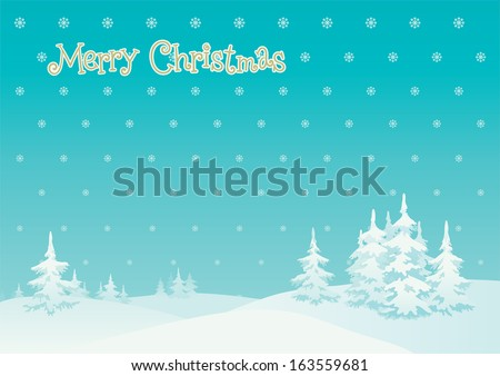 Merry  christmas! Vector vertical background of winter landscape  - stock vector