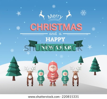 Merry christmas vector with greeting on blue background