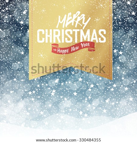 Merry Christmas Vintage Background. Falling Snow and Golden Badge with Greeting. All layers separated and can be edited. - stock vector