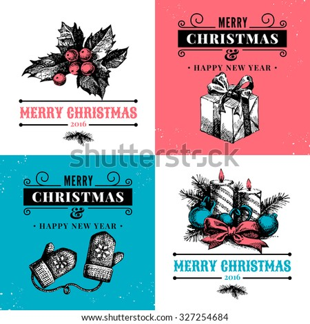 Merry Christmas Vintage Banners Happy New Year Cards Vector Illustration
