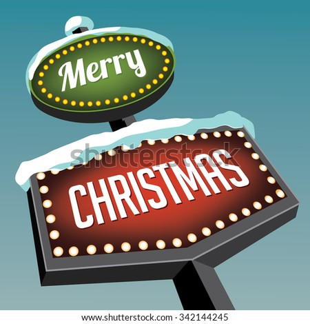 Merry Christmas Vintage Christmas Road sign. EPS 10 vector royalty free illustration. - stock vector