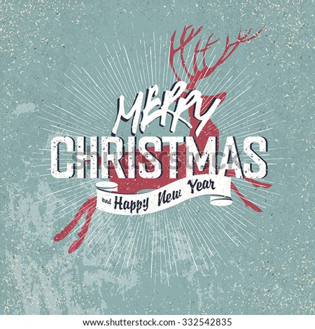 Merry Christmas Vintage Lettering with Christmas red deer silhouette on blue aged background with rays - stock vector