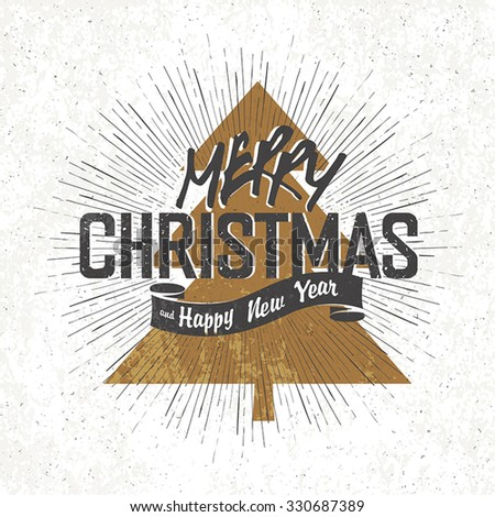 Merry Christmas Vintage Monochrome Lettering with Christmas tree silhouette on background - stock vector