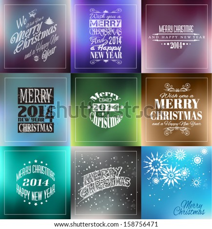 Merry Christmas Vintage retro typo background set  for your greetings or invitation covers. - stock vector