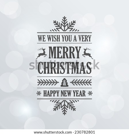 Merry Christmas Vintage Retro Typography Lettering Design Greeting Card on Bokeh background.  Vector illustration Happy New Year Happy Holidays Template. - stock vector