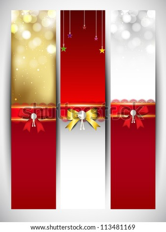 Merry Christmas website banner set decorated with snowflakes and ribbons. EPS 10. - stock vector