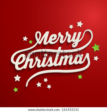 Merry Christmas white lettering over red background - stock vector
