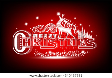 Merry christmas white lettering with pattern and deer on red background - stock vector