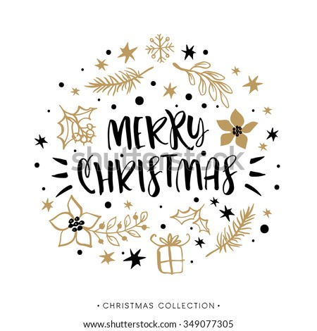 Merry Christmas. Winter Holiday greeting card with calligraphy. Hand drawn design elements. Handwritten modern lettering. - stock vector