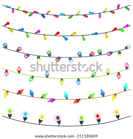 Merry Christmas with Colorful Glowing Christmas Lights