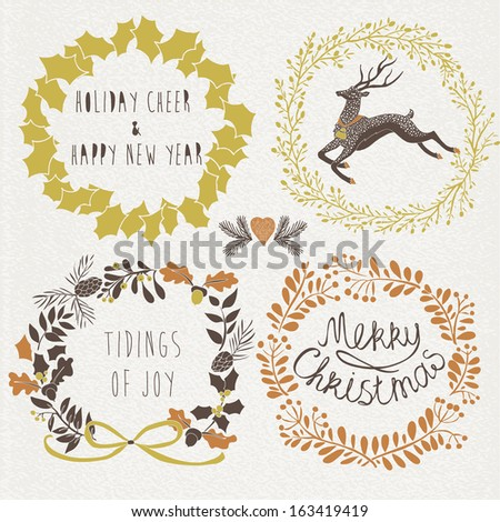Merry Christmas with festive wishes - stock vector
