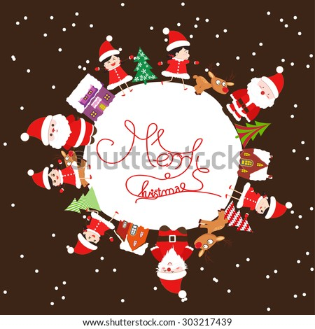 Merry christmas with kids and element on earth greeting card - stock vector