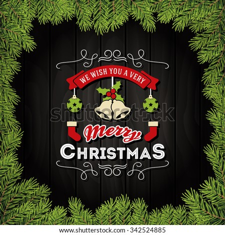 Merry Christmas With Ornaments On A Dark Wooden Board and Christmas Leaves Frame. Design Banner, Tags, Label, Greeting cards, Party Invitation.Vector Illustration - stock vector