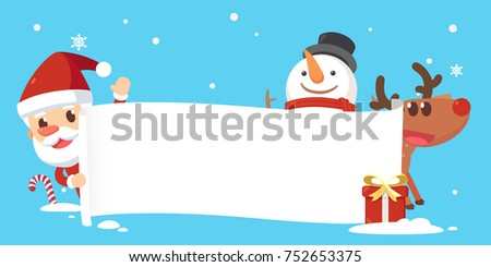 Merry Christmas with Santa and friends.Santa snowman and reindeer showing a placard.