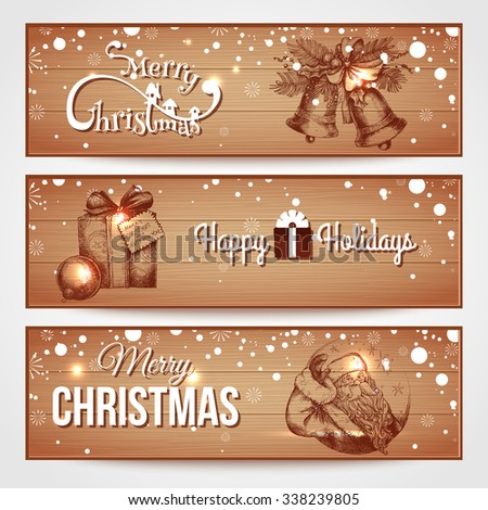 Merry Christmas wooden horizontal banners with snowfall, santa claus, christmas bells, christmas gift box. Christmas background. Vector illustration. - stock vector