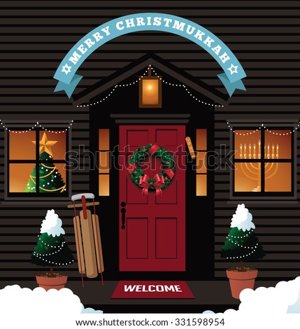 Merry Christmukkah Christmas Hanukkah Front Door Stock Photo Photo