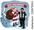 Merry Christmukkah Santa and Rabbi in snowy scene Combines Christmas and Hanukkah EPS 10 vector illustration - stock photo