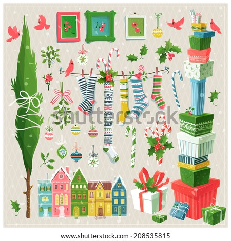 Merry clip art collection of  decorative elements for Christmas and New Year's events 	  - stock vector