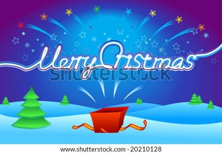 Merry Cristmas gift - stock vector