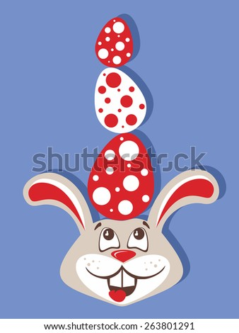 merry Easter bunny holding a color Easter eggs isolated on soft blue background - stock vector