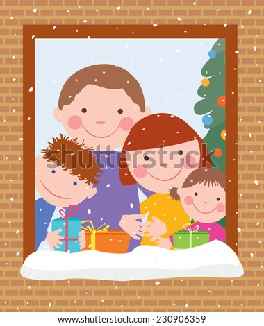 merry family in Christmas - stock vector