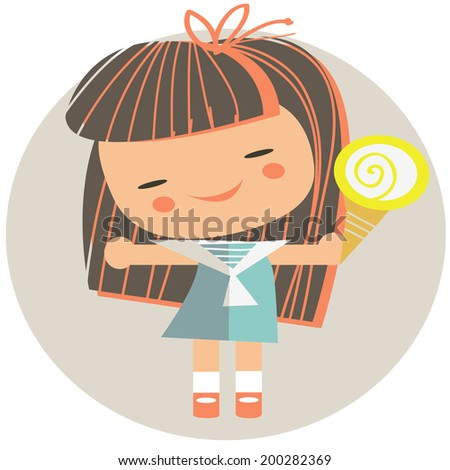 merry girl with an ice-cream - stock vector