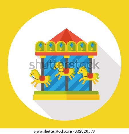 merry-go-round flat icon - stock vector