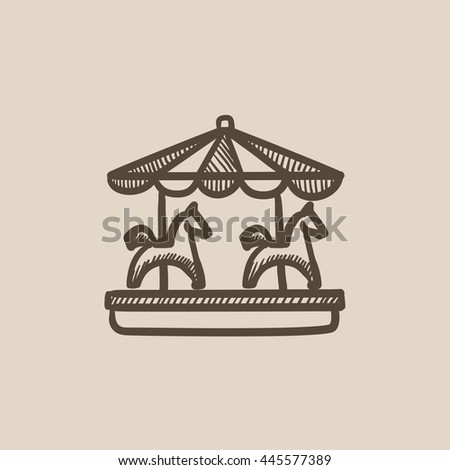 Merry-go-round vector sketch icon isolated on background. Hand drawn Merry-go-round icon. Merry-go-round sketch icon for infographic, website or app. - stock vector