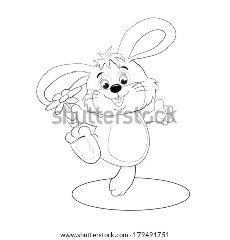 Merry hare-toy with flower in a paw.  Coloring book. - stock vector