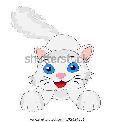 merry kitten with a fluffy tail, vector illustration