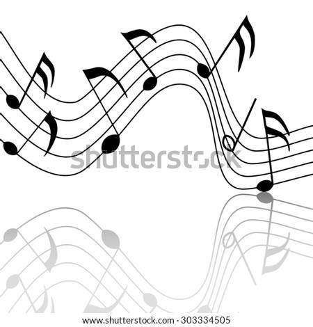 merry musical notes with a nice reflection - stock vector
