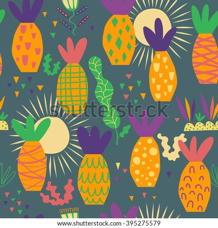 Merry pattern with palm trees. Bright palm trees, good weather, seamless vector for good holidays - stock vector