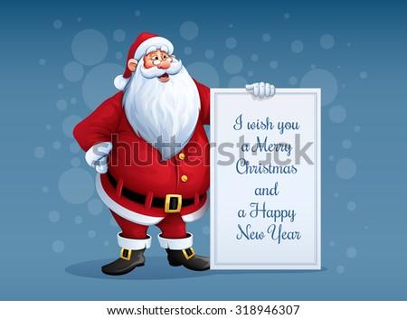 Merry santa claus standing christmas greetings stock vector royalty merry santa claus standing christmas greetings stock vector royalty free 318946307 shutterstock m4hsunfo