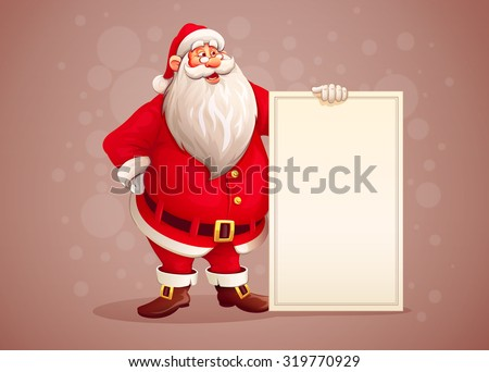 Merry Santa Claus standing with christmas greetings banner in arm, retro styled color. Vector illustration. Transparent objects used for lights and shadows drawing. - stock vector