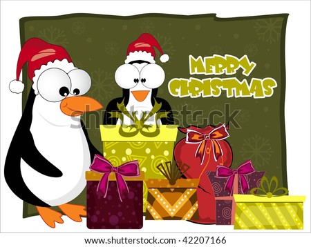 merry xmas background with colorful gifts, cute penguin - stock vector