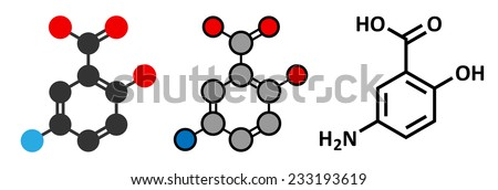Mesalazine (mesalamine, 5-aminosalicylic acid, 5-ASA) inflammatory bowel disease drug molecule. Used to treat ulcerative colitis and Crohn's disease.   - stock vector