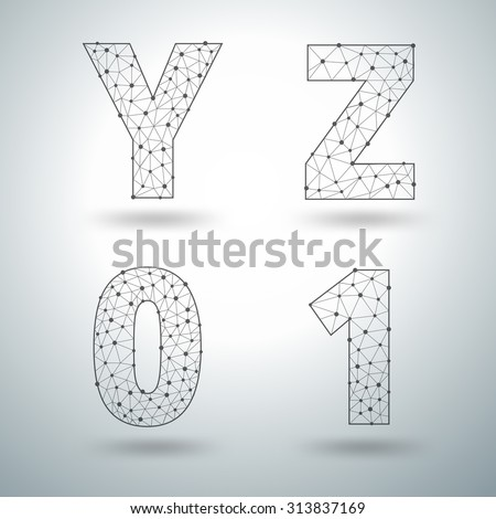 Mesh stylish alphabet letters numbers Y Z 0 1, Vector illustration templates design - stock vector