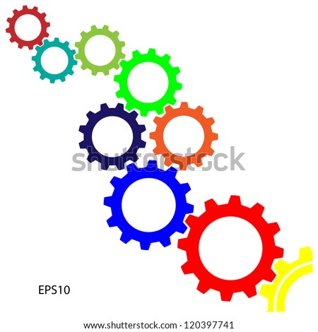 meshing  gear on white background,industrial driving,vector - stock vector