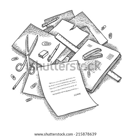 Mess on a table - stock vector