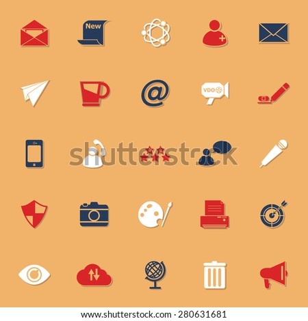 Message and email classic color icons with shadow, stock vector