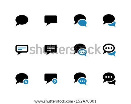 Message bubble duotone icons on white background. Vector illustration. - stock vector