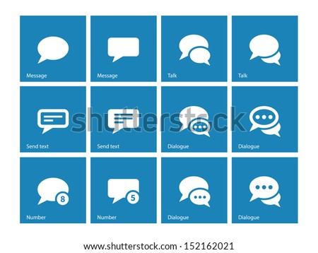 Message bubble icons on blue background. Vector illustration. - stock vector