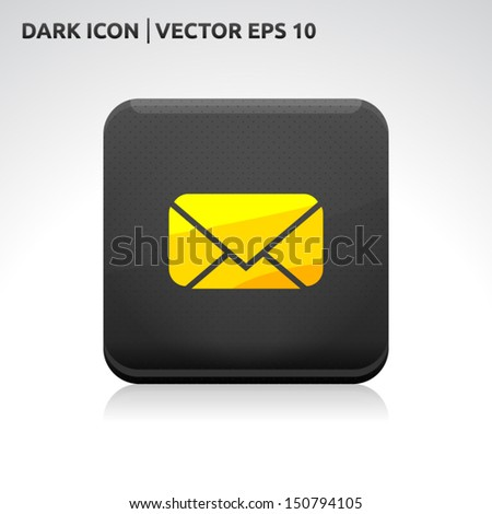 Message email SMS icon | color dark black gold yellow | icon set | abstract vector symbol | template design | shadows shiny | business button | abstract 3d - stock vector