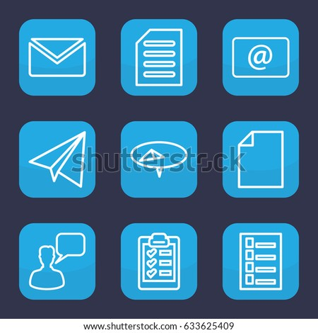 Message icon. set of 9 outline message icons such as paper airplane, document, chatting man, email, clipboard, mail, pin