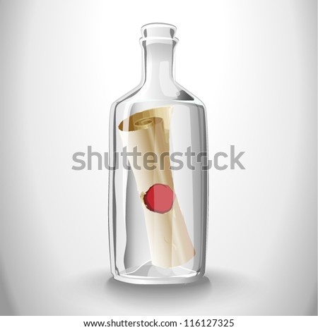 Message in a glass bottle high quality - stock vector