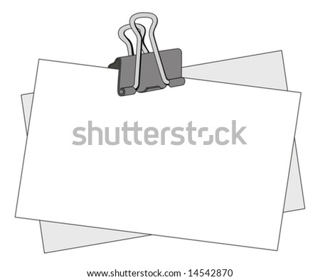 Message note with a black metal clip - stock vector
