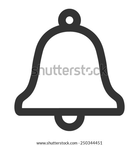 Message notification bell outline flat icon for apps - stock vector