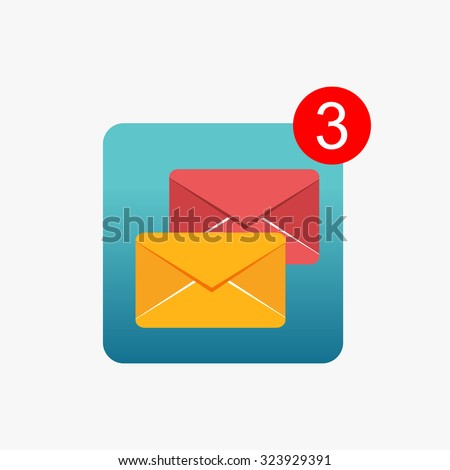 Message notifications icon concept. Inbox messages.  - stock vector